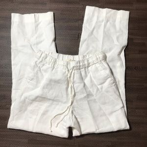 Charter club linen white pants pull on pockets